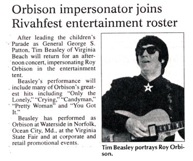 Tim Beasley Portrays Roy Orbison